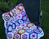 Colourful Crochet Afgan Blanket, Handmade blanket, Granny Square blanket