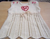 Handknitted Baby Girls Dress, Ivory Girl Dress, 3-6 Months Handknitted Dress