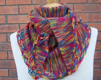 Handknitt Colouful Women Shawlette, Women Shawl, Wool Neckwarmer