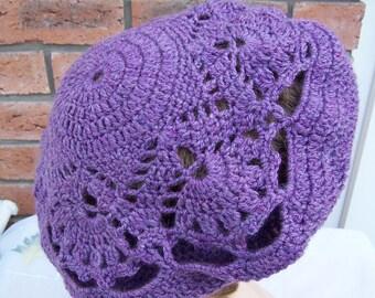 Handcrocheted  Lace Plum/Purple Women Beret, Lace Beret, UK Seller