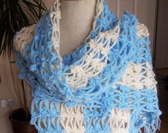 Crocheted Women Scarf, Lace Stole, Shawl, Wrapp, Blue and White Scarf, UK Seller