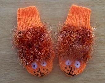 Handknitted Children Mittens, Cute Mittens, Panther Mittens, Orange mittens, UK Seller