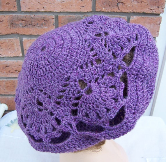 Handcrocheted  Lace Plum/Purple Women Beret, Lace Beret, UK Seller