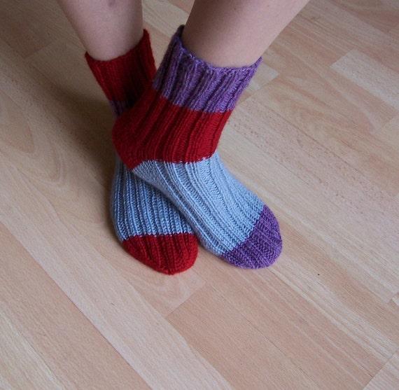 Hand Knitt Socks, Women Wool Socks, Striped  Socks, Odd Socks