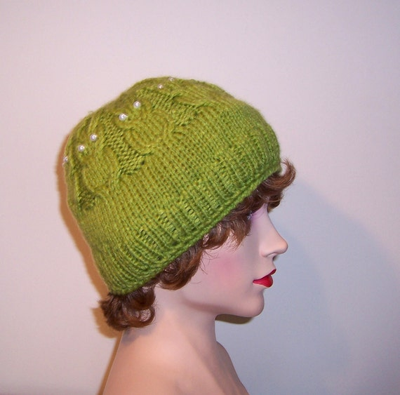 Hand Knitt Women Owl Hat, Green Hat, Cable Hat, Beanie