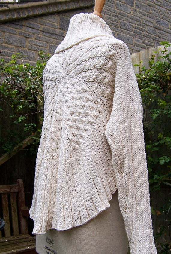 Handknitted Long Sleeved Bolero/Shrug/Cardigan, Women Sweater, White Caridigan, Women Bolero, UK Seller