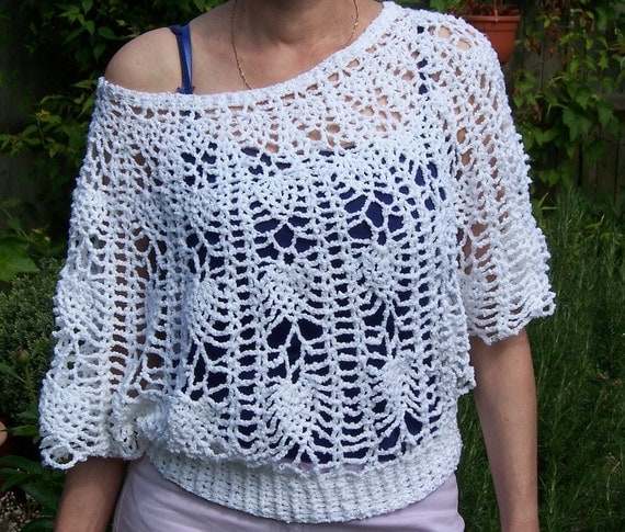Crochet Women Lace Summer Top, Crochet Poncho with Sleeves/Capelet, White Capelet, Handcrocheted Poncho, Stylish Capelet