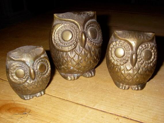 Groovy Retro Trio of Brass Owls