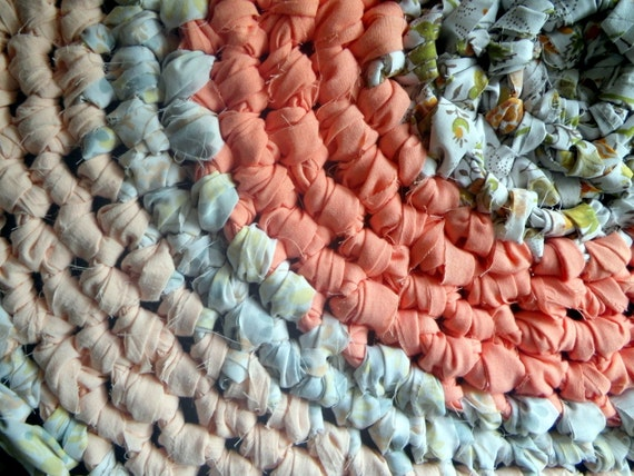 Crochet Rag Rug Southern Peaches Cottage Chic Eco Friendly Nursery