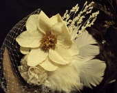 Dried Flower, feather and lace birdcage veil, Romantic Hair Accessory, bride, hair comb