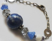 white agate, glass, crystals and polymer clay for this cute royal blue bracelet