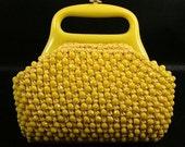 Retro Yellow Woven Beaded Purse Plastic Handles