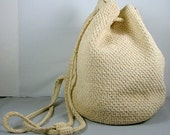 Bucket Bag Purse Backpack Crochet Ivory Beige Cream Drawstring Woven