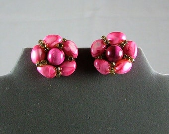 Vintage Pink Swirl and Seed Bead Clip On Earrings HONG KONG