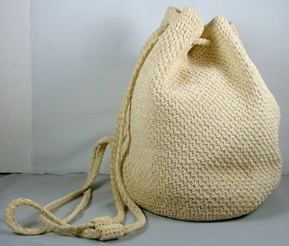 Crochet Bucket Bag : Bucket Bag Purse Backpack Crochet Ivory Beige Cream Drawstring Woven