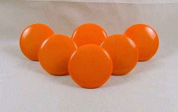 Vintage Ceramic Dresser Cabinet Knobs Handles Bright Orange - Set of 6