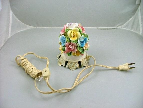 Vintage Night Light Aladdin Porcelain Flower Bouquet