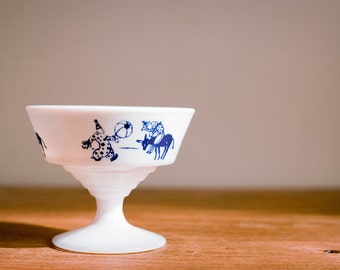 Vintage Milk Glass Custard Cup or Ice Cream Bowl With Circus Clowns and Donkey