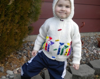 Hand knit child's hooded crayon sweater