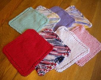hand knit dish cloths