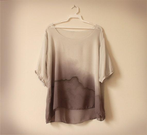 sale gray silk chiffon blouse