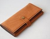 Caramel Long Wallet - Handmade Leather Wallet