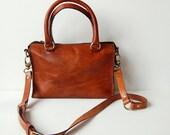 Cognac Sophia Bag 10 inch - Handstitched leather handbag