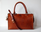 Cognac Sophia Bag 12 inch - Handmade  leather handbag