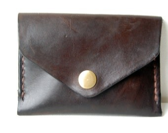 Chocolate Card Holder - Handstitched leather wallet
