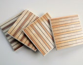 The Bonster: Set of 4 Rust Stripe Tile Coasters