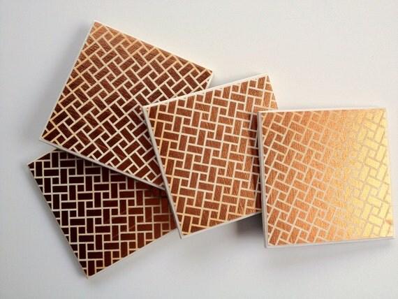 The Bonster: Set of 4 Gold Brick Tile Coasters