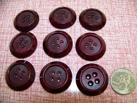 Set of 9 Large Chunky  Vintage Burgundy Buttons