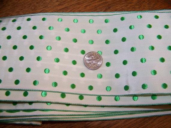 8 Plus Yards 3 Inch Wide Green Polka Dot Grosgrain Ribbon