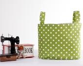 Polka Dot, Fabric Storage Basket, Nursery Storage Hamper, Medium Fabric Bin, Toy Storage Bin, Supply Storage Basket, Green
