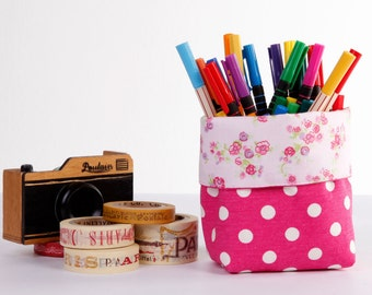 Mini Small Fabric Basket Storage Organizer Bin - Pink Polka Dots