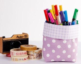 Mini Small Fabric Basket, Basket Storage, Fabric Basket Organizer, Fabric Bin, Desk Organizer, Lilac Polka Dots