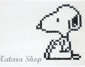 Cross stitch card. Snoopy wall art with personalized message for framing