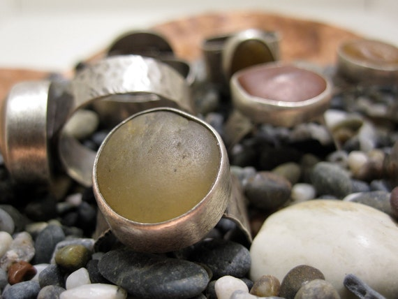 River stone rings with forged silver bands