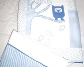 Lovely patchwork quilt for baby bed (crib) with a nice blue owl in the tree