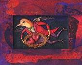 Love Nest: Valentine art print. Flying bird man dressed in red, snuggling heart nest, w/ anatomical engravings. Fantasy bird art, valentine