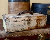 Shabby Chic miniature chest tool tack box rusted metal, leather handle, wood lined