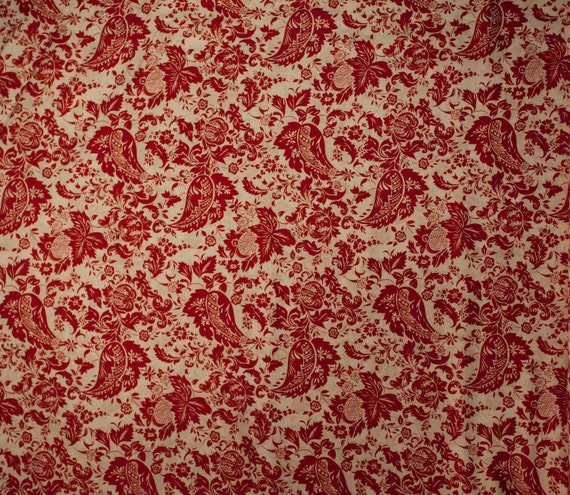 SALE David Textiles Botanical in Red and White - 1 yard (DT8357-8B)