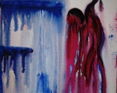 Abstract Painting - Figure Painting - Red White Blue - Drip Art - Modern Art - Contemporary Painting - 16x20