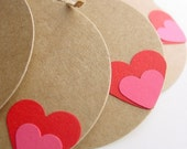 Kraft Tags with Pink on Red Heart (Set of 6)-Wedding-Valentine-Love-XOXO-Gift-Paper Goods-Circle-DieCut-Heart