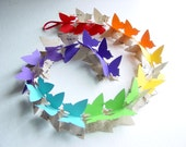 3D Butterfly Garland-Music Sheets & Rainbow Colours,Baby Mobile,Nursery Decor,Crib Mobile,Baby Shower,Decoration,Party,Birthday,Chakra