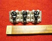 Skull Rack w/ Aztec Warrior Heads Vintage Sterling Silver w/ Onyx Mexican Brooch Pin Aztec