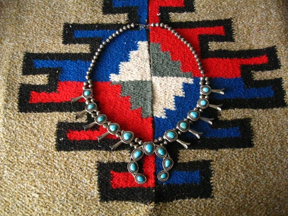 Vintage Navajo Squash Blossom Necklace Old Pawn w Ticket Silver & Turquoise Native American