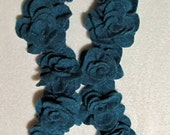 Jaded Blue Ruffled Rose Felted Wool Scarf