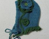 Bonnie Blue Button Bonnet Felted Wool Toddler's Hat