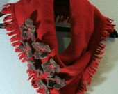 Wine & Wildflowers Fringed Felted Wool Cowl Scarf